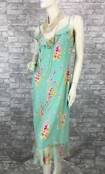 Ungaro Paris New Green Pink Silk Floral Cocktail Dress 8 US 44 IT M Runway Auth