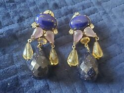 Iradj Moini Chandelier Clip Earrings Smoky Quartz AMETHYST LAPIS Citrine $399.99