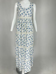 Vintage Sprigged Floral Linen and Lace Maxi Dress 1970s $95.00