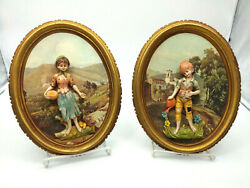 Vintage Italian Decor Plaques Boy amp; Girl Set by Art Mark $19.99