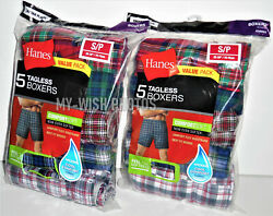 BRAND NEW Hanes Mens COMFORTSOFT TAGLESS BOXERS SHORTS 5-PACK SMALL 28-30 In $15.95