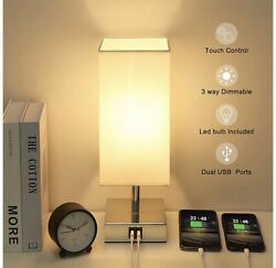 Touch Bedside Lamp With USB Chargers Modern Look Fast Shipping! $50.00