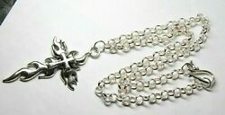 Cross in Flames Charm Pewter 2 3 4quot; Pendant Rhodium Chain Necklace 18quot; Gothic $7.49