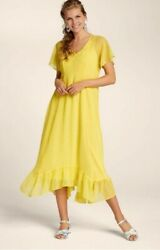 UK BOHO PLUS SIZE YELLOW WOMANS FLORAL SUMMER EVENING PARTY CHIFFON CASUAL GBP 14.99