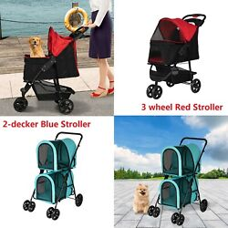 Pet Stroller Cat Dog Cage Travel Folding Carrier Small Puppy Stroller 2 Style $119.99