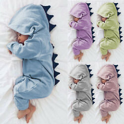 Newborn Baby Kids Boy Girl Dinosaur Cos Hooded Romper Jumpsuit Clothes Outfit $16.52
