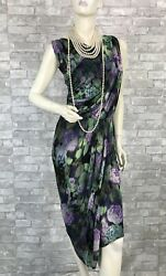Etro New Green Stretch Floral Faux Wrap Dress Zipper 8 US 44 IT M Runway Auth