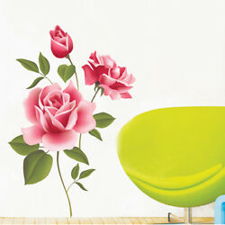 Hot Rose Wall Stickers Large Flowers Sofa TV Background Home Decoration DIY ART $5.31
