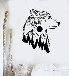 Vinyl Wall Decal Wolf Animal Tribal Nature Moon Tree Bedroom Stickers g3112 $19.99