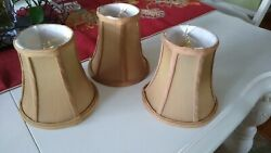 SET 3 Tan Lamp Chandelier Shades Bronze gold $12.00
