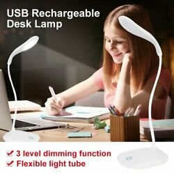 USB Rechargeable LED Desk Table Touch Night Lamp 3 Levels Dimming Reading Light $5.29