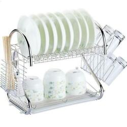 Multi function 2 Tier Stainless Steel Dish Drying Rack Kitchen Storage Silver $16.59