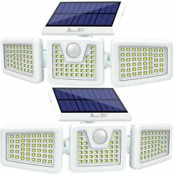 2Pcs Solar Lights OutdoorLED Waterproof Motion Sensor Lights 3 Adjustable Heads
