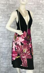 Roberto Cavalli Black Purple Floral Stretch Dress 6 US 44 IT M Runway Auth