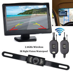 5quot; Monitor Wireless Reverse Camera Backup Night Vision Kit Car Rear View System $42.99