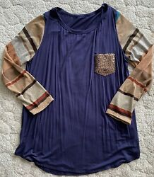 New! Women's  boutique Top Size 3XL Sequin Pocket Flowy Free Shipping! $13.00