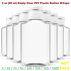 2 oz (60 ml) Empty Clear PET Plastic Bottles W/ Flip Top Caps - 5 to 1000 packs $58.00