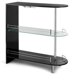 Bar Table Gloss Black Pub Cocktail Table with Tempered Glass Shelf amp; Wine Holder $155.95