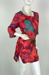 Max Mara New 6 US 42 IT M Red Cotton Linen Floral Tunic Dress Top Runway Auth