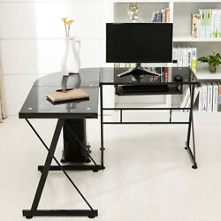 Corner Computer Desk Rotating L Shape Gaming Study PC Table Home Furniture $130.99