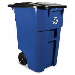 50 gallon Blue Square Commercial Recycling Rollout Container Free Shipping