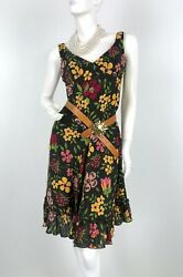 Moschino New 8 US 42 IT M Brown Green Yellow Wool Floral Dress Ruffle Runway