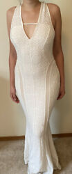 GUESS Womens White Ivory Long Party Dress Sleeveless Backless Bodycon Size M $25.00
