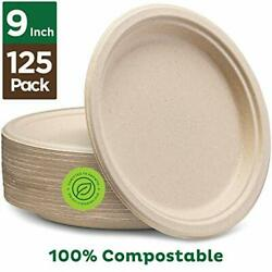 Plates Heavy Duty Quality Natural Disposable Bagasse 9quot; 2 pack $31.99