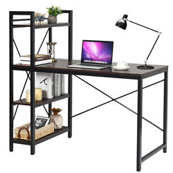 Home Office Modern Computer Desk W 4-Tier Shelves PC Workstation Study Table $219.95