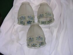 #A Set of 3 Antique Hanging Ceiling Light Fixture Reverse Painted Glass Shades $45.00