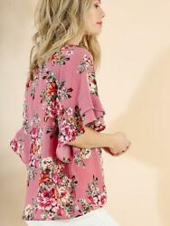 NWT Umgee Dusty Rose Floral Ruffle Sleeve Boutique Top $18.99