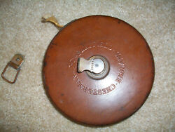 Vintage Chesterman Sheffield England Leather Cased 100 Ft. Tape Measure