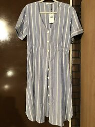NWT MNG Mango Summer Button Down Shirt Dress Size Large 8 Blue White Stripped $29.00