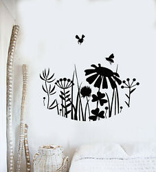 Vinyl Wall Decal Meadow Flowers Grass Bees Nature Bedroom Stickers Mural g3237 $28.99