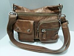 Fossil Handbag Crossbody Bronze Leather Lots of Pockets Clean! $29.00