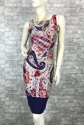 Etro Purple Red Linen Silk Floral Dress Zipper 2 US 38 IT XS Runway Auth
