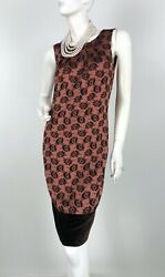 Etro New 4 6 US 40 IT S M Brown Black Floral Velvet Trim Cocktail Dress Runway