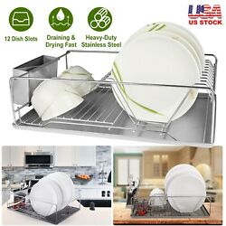 Dish Drying Rack Drainer Stainless Steel Kitchen W Drainboard Cutlery Holder $37.28