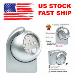 Silver Motion Sensor LED Night Light Cordless Battery Powered Indoor Outdoor NEW $9.95