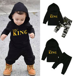 Toddler Kids Baby Boy Letter Hoodie T Shirt TopsCamo Pants Outfits Clothes Set $10.44