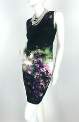 Jean Paul Gaultier Fuzzi 8 US 44 IT M Black Stretch Floral Dress Runway Auth