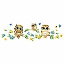 Three Little Cute Owl On A Tree Wall Art Decal Vinyl Adhesive Home Decoration $19.95