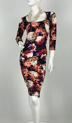 Roberto Cavalli New 4 US 40 IT S Red Black Floral Stretch Knit Dress Runway Auth