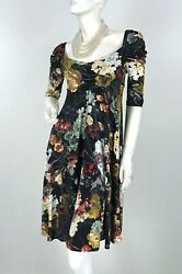Roberto Cavalli 6 US 42 IT M Green Black Gold Stretch Knit Floral Dress Runway