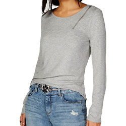 INC International Concepts NEW Zipper Detail Long-Sleeve Top Stretch Large