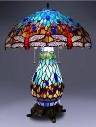 Tiffany Style Lamp Stained Glass Table & Desk Dragonfly Accent Lighted Base New  $198.88