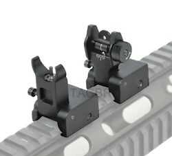 Black Metal Sights Set Low Profile Flip-up Front and Rear Sights Set   $25.99