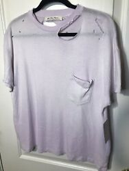 Free People XS Womens Lucky Purple Lavender Oversized Distressed Tee T Shirt Top $14.99