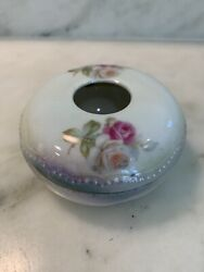 P K Silesia Hair Receiver Floral Rose Porcelain Antique with Lid Germany Prussia $14.90