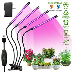 4 Heads LED Grow Light Plant Growing Lamp Lights for Indoor Plants Hydroponics $28.99